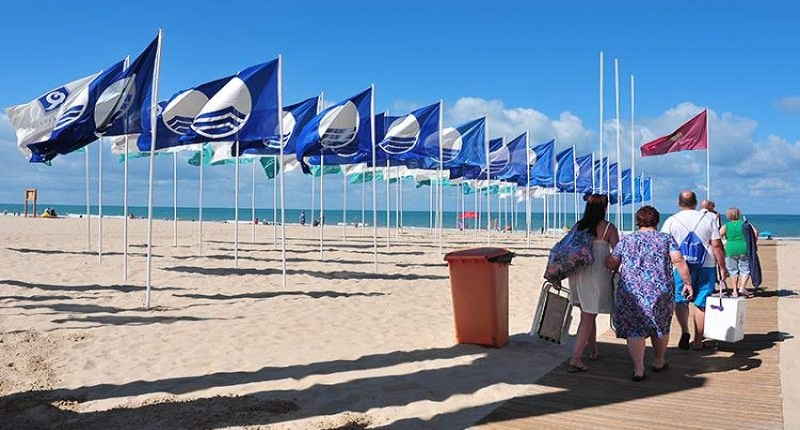the blue flag of Spain
